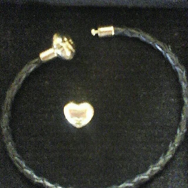 sterling silver & leather bracelet stamped 925
