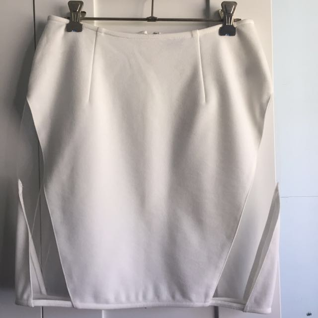 Tobi White Sheer Panel Skirt