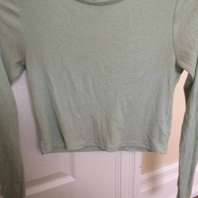 Topshop mint cropped long sleeve