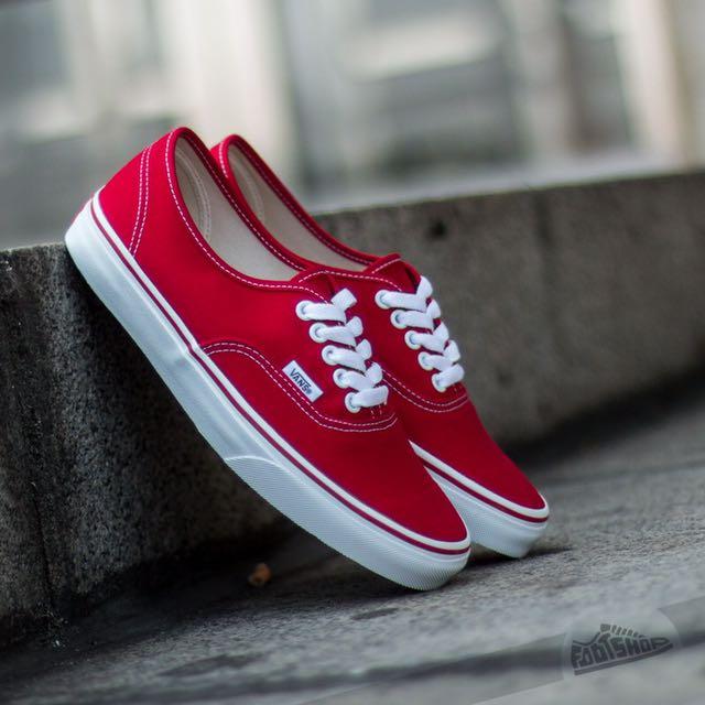 Vans Authentic Red Skate Shoe (Women's 8)
