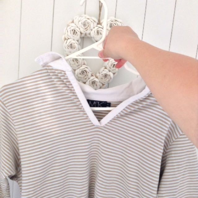 Vintage mustard/brown and white stripped top