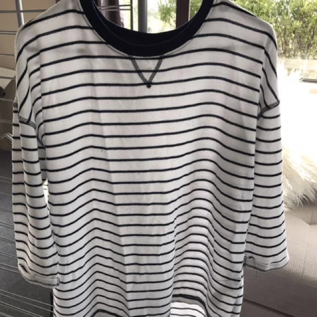 White Striped Crewneck