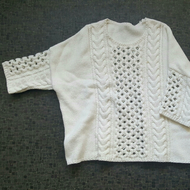 White Studded Jumper