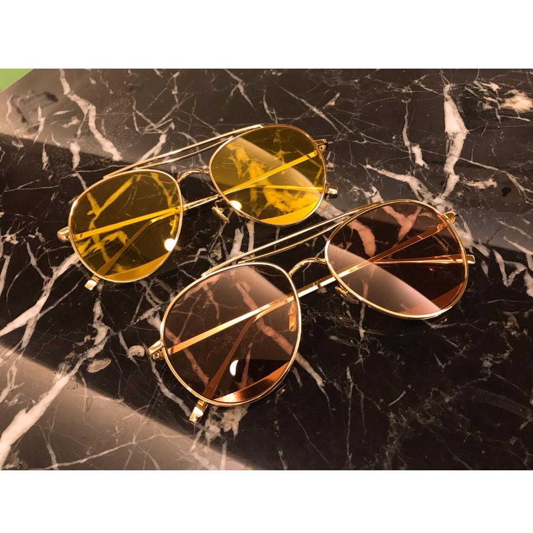必備墨鏡原宿風彩色女款太陽眼鏡(現貨黃x1)