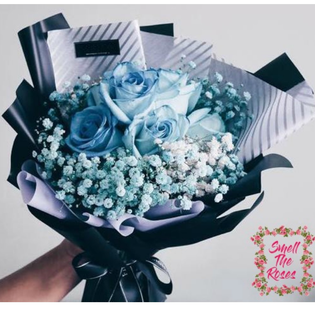 Youre My Princess Royal Blue Roses With Baby Breath Designer Glam