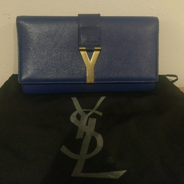 Authentic YSL Classic Y-line Clutch In Blue