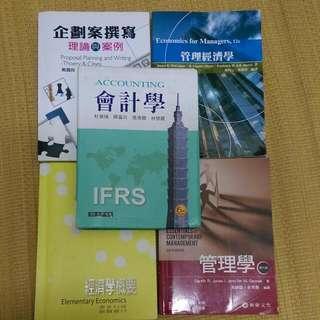 管理學、管理經濟學、會計學、企劃案撰寫、管理學