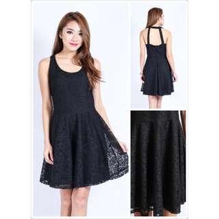 topazette | ARELLE CROCHET DRESS (BLACK)
