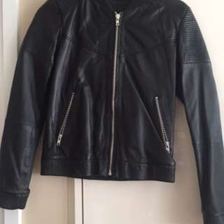 Mango XS Leather Bomber Jacket