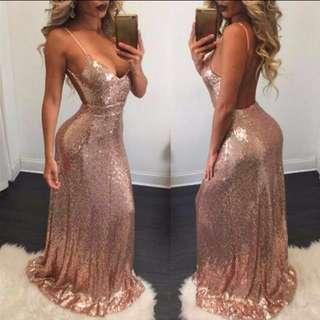 Gold Sequin Backless Formal Dress