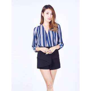 (S) The Willow Label Aimee Wrap Blouson in Navy (UP $27)