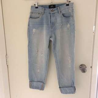 Dotti faded ripped boyfriend jeans size 8