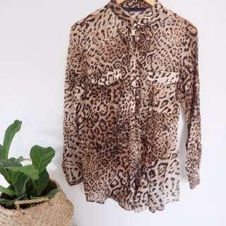 Zara Leopard print shirt