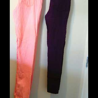 size 10 fluro ornge purple and black skinnys