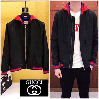 GUCCI Web Trim Hooded Track Jacket Black