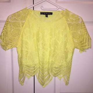 For Love & Lemons Lace Crop Top SIZE SMALL