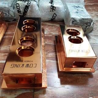 355.全球最高階一體成型2/4/6位6mm厚黃銅鍍奈米紫銅塗層的排插空盒特價5500/7500/9500元