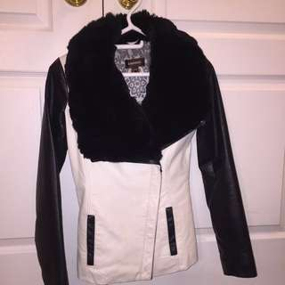 Danier Leather Jacket with Real Rabbit Fur Trim