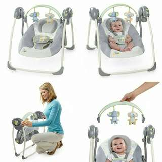 Brand NEW Ingenuity Soothe 'n Delight Portable Swing - Buzzy Bloom🐵🐘