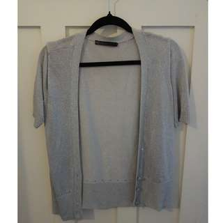 David Lawrence silver short sleev cardigan - size S