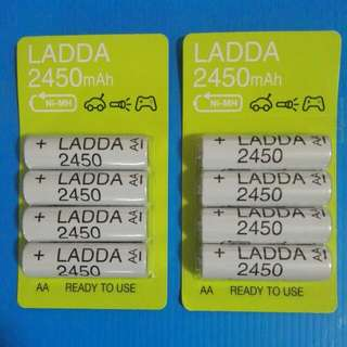 IKEA LADDA 1.2V 2450mAh NiMH HR6 AA. ready to use. 500 cycles. Low Self Discharge Rechargable Battery * Made in Japan * 703.038.76 - eneloop oem - Lot of 8pcs.