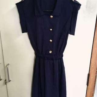 Retro dark blue dress size S
