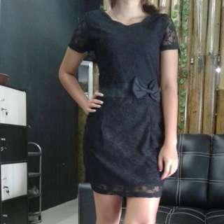 black brukat bow tie dress