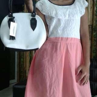 dress putih pink (atas brukat)
