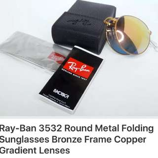 Ray ban round metal folding sunglass Gradient lens very good condition text 4379903513 I give $10 off