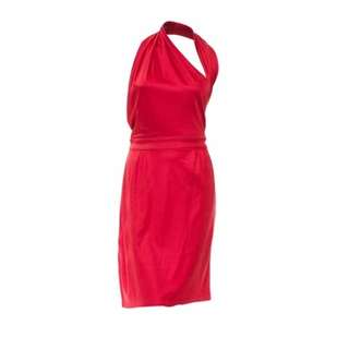GUCCI CRANBERRY SILK HALTER WRAP DRESS