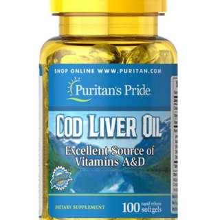 Puritan's Pride Norwegian Cod Liver Oil 415 mg 100 Softgels