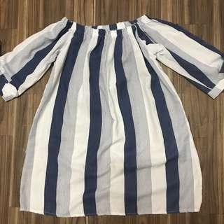 Blue Stripes Off Shoulder