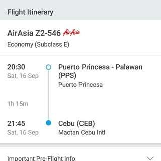ticket good for 2 .. sept. 16 .. puerto princesa to cebu ..