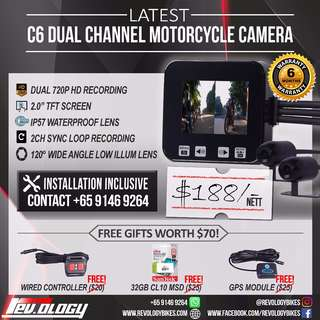 **LATEST** C6 Motorcycle Front Back Video Camera