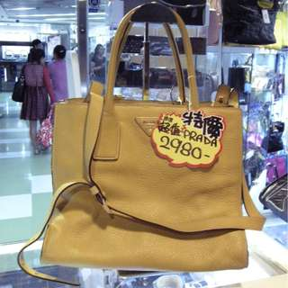 Prada Yellow Leather Shoulder Hand Bag 普拉達 黃色 牛皮 皮革 手挽袋 手袋 肩袋 袋