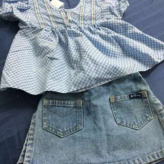 Old Navy Skirt cum Floral Blue Blouse