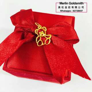 916 Gold Teddy Bear Pendants /Italy Design / 916黃金意大利款式 泰迪熊 吊坠