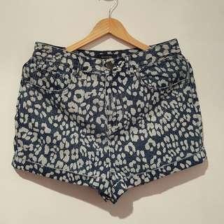 High waisted shorts, animal print (size 10)