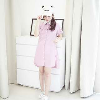 Pink & White Casual Korean Shirt Dress