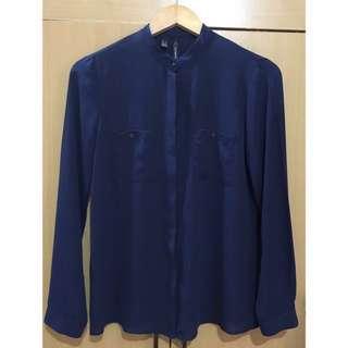 Mango Long sleeves dark blue blouse