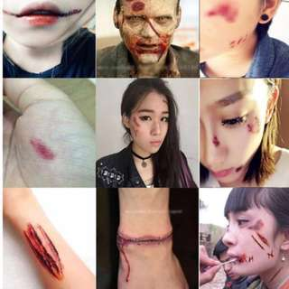 Fake Scars Fake Wounds Fake Injuries Fake Blood Fake Stitches Fake Blue Blacks Stick On Tattoo Stickers Special Effects Makeup