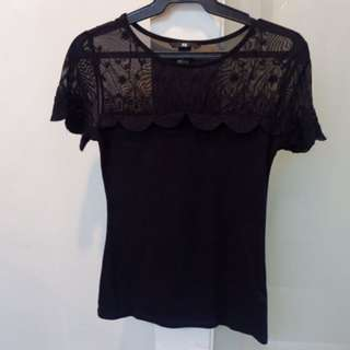 H&M Black Lace Top