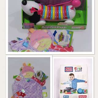 Set of Leapfrog alphapup, Taggies Pink Giraffe and Megabloks 7pcs
