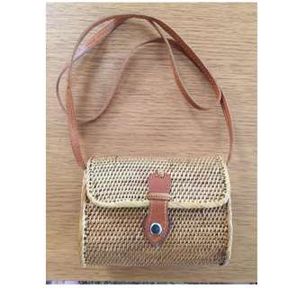 Rattan Wicket Woven Mini Shoulder Bag with Leather Strap
