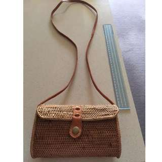 Rattan wicker woven mini shoulder bag with leather strap