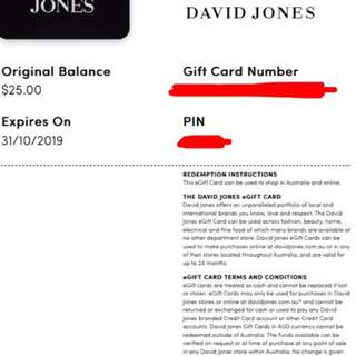 David Jones $25 eGift Card