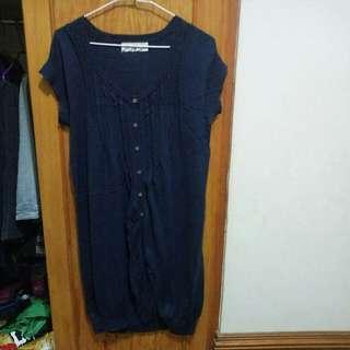 🚚 氣質文青毛料海軍藍/藏青洋裝/罩衫#我的女裝可超取