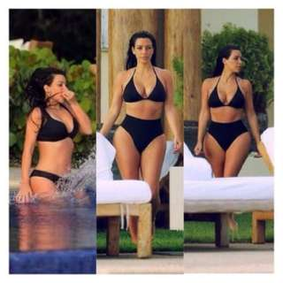 Kim Kardashian style one piece black swimwear