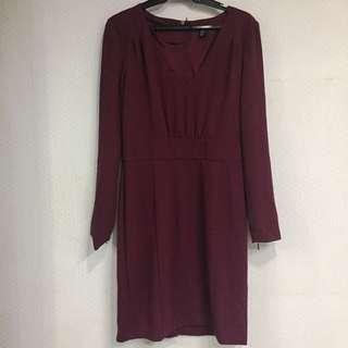 Long sleeve wine dress