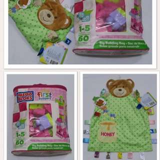 Set of Taggies Bear and Megabloks Pink 50 pcs